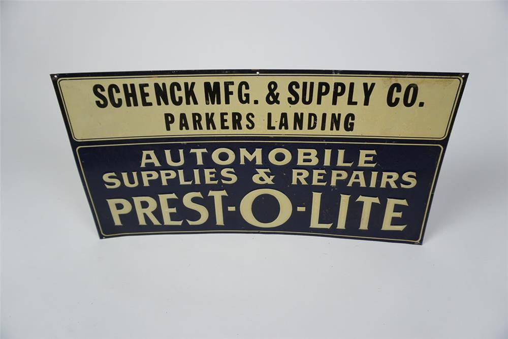 Choice 1930s Prest-O-Lite Automobile Supplies and Repairs single-sided embossed tin automotive garage sign. - Front 3/4 - 186044