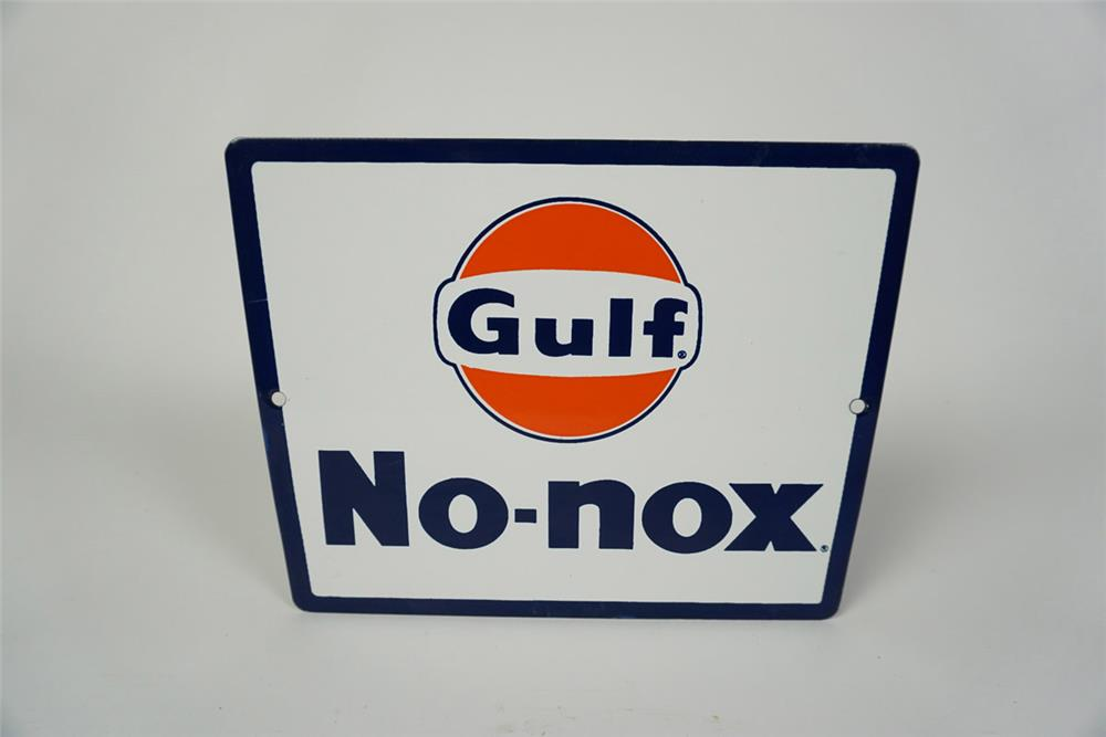 NOS Late 1950s early 1960s Gulf No Nox single-sided porcelain pump plate sign with Gulf logo. - Front 3/4 - 186046