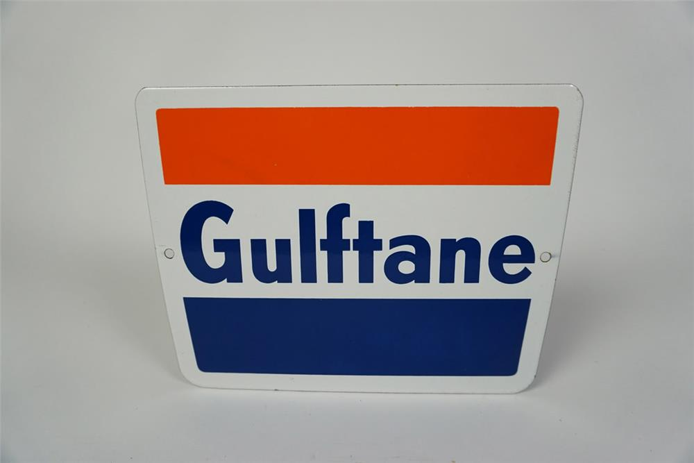 NOS Early 1960s Gulf Oil Gulftane Gasoline single-sided porcelain pump plate sign. - Front 3/4 - 186047