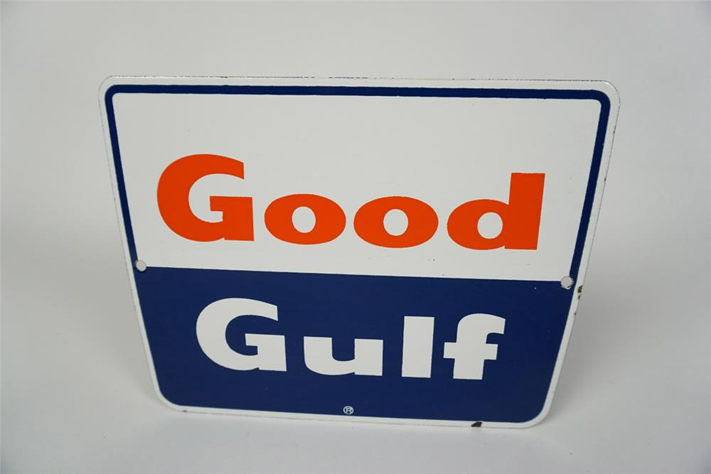 NOS Late 1950s early 1960s Good Gulf Gasoline single-sided porcelain pump plate sign. - Front 3/4 - 186048