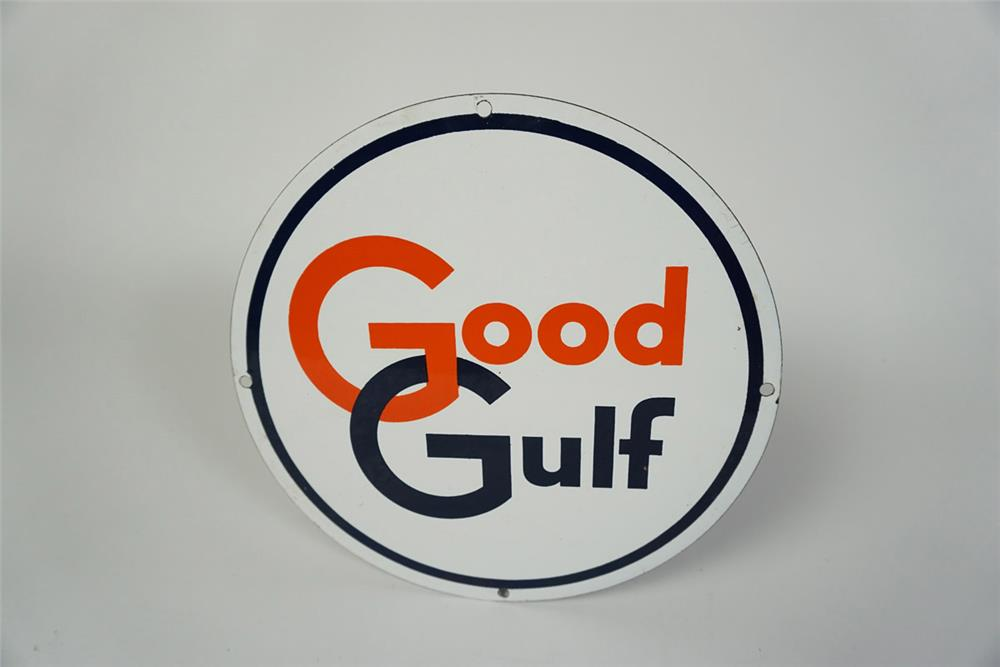 Sharp NOS 1950s Good Gulf Gasoline single-sided porcelain pump plate sign. - Front 3/4 - 186049