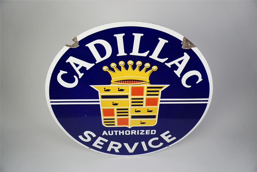 Very desirable 1940s-50s Cadillac Authorized Service double-sided porcelain dealership sign - Front 3/4 - 186054