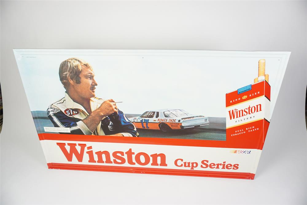"Choice NOS 1981 Winston Cigarettes ""Nascar Winston Cup Series"" single-sided self-framed tin sign - Front 3/4 - 186055"