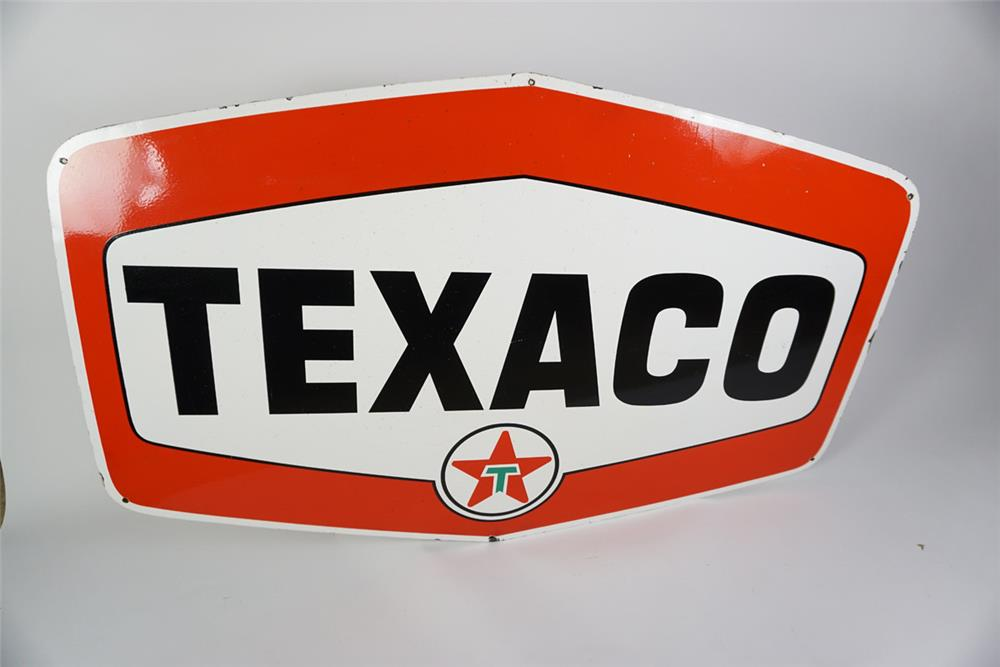 Fantastic large 1950's Texaco Oil single-sided porcelain service station sign - Front 3/4 - 186056