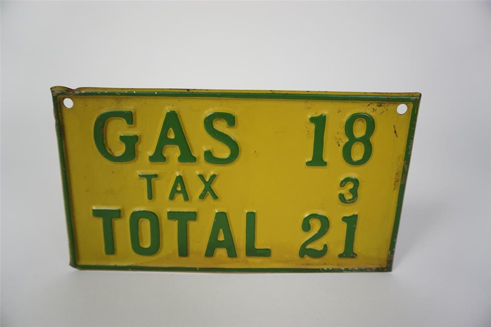 Nifty 1920's filling station gasoline price tin tacker sign. - Front 3/4 - 186067