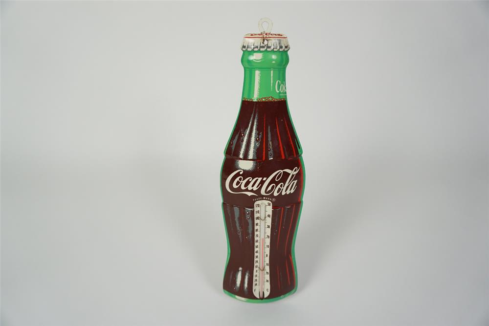 NOS late 1950s Coca-Cola die-cut tin bottle shaped service station thermometer. - Front 3/4 - 186068