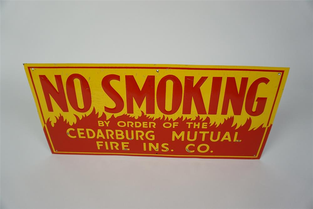 Circa 1940s No Smoking embossed tin service department sign with flame motif. - Front 3/4 - 186069