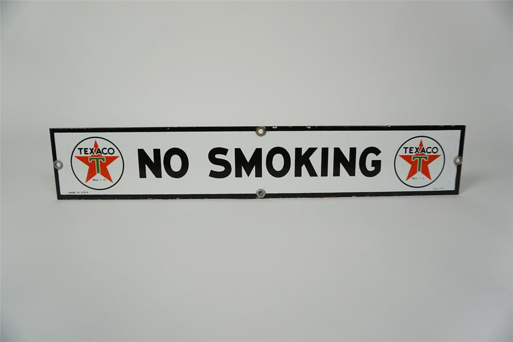 "Impressive NOS 1953 Texaco Oil ""No Smoking"" single-sided porcelain service station fuel island sign. - Front 3/4 - 186072"