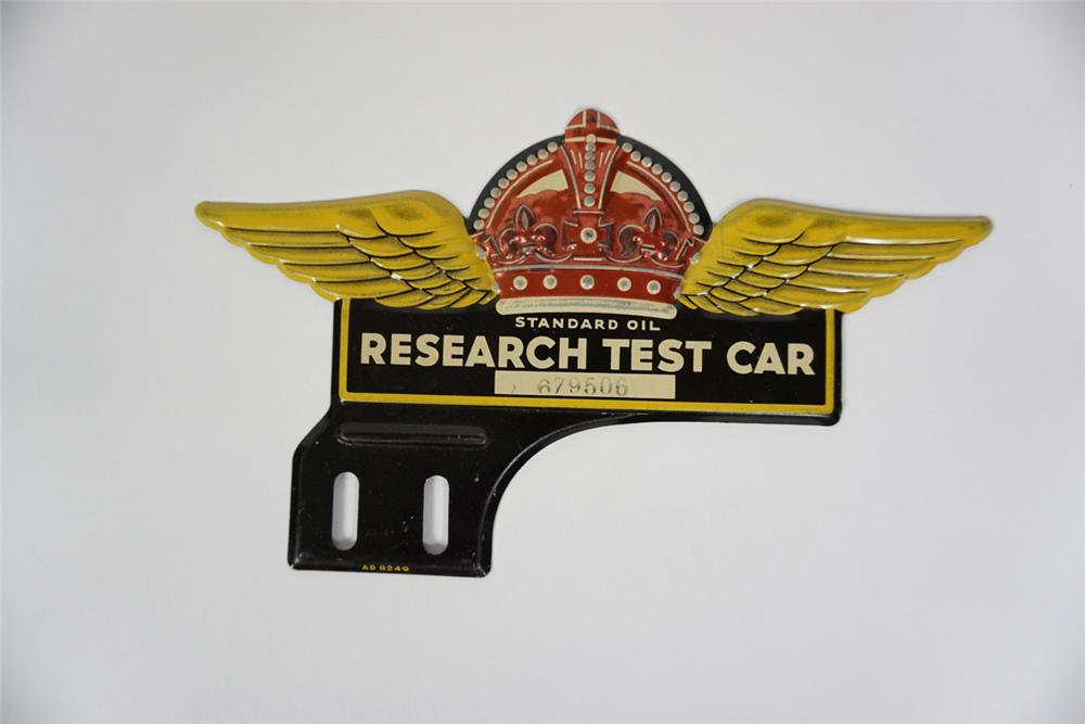 NOS 1930s Standard Oil Research Test Car license plate attachment sign - Front 3/4 - 186074