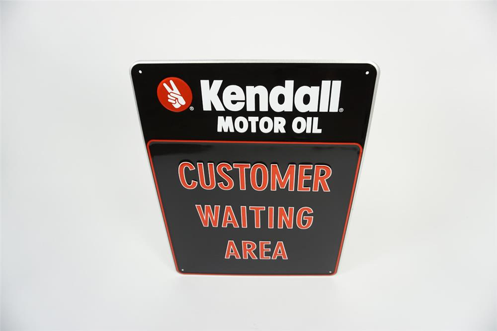 "NOS Kendall Motor Oil ""Customer Waiting Area"" single-sided embossed tin automotive garage sign. - Front 3/4 - 186085"