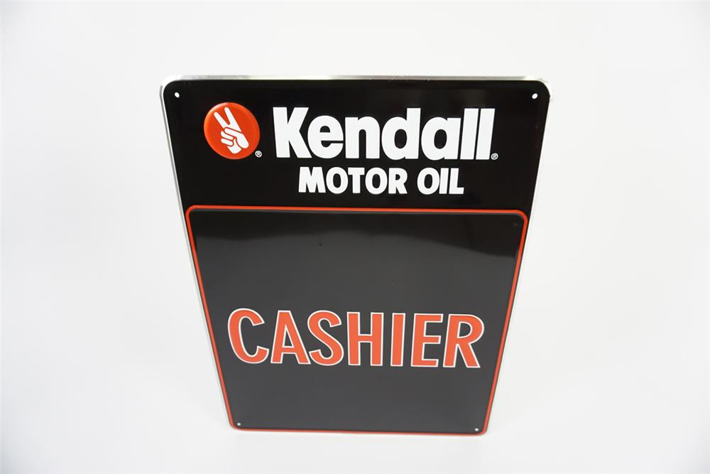 "NOS Kendall Motor Oil ""Cashier"" single-sided embossed tin automotive garage sign. - Front 3/4 - 186088"