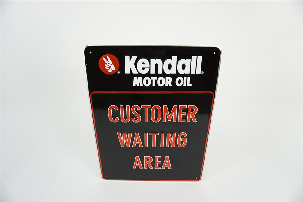 "NOS Kendall Motor Oil ""Customer Waiting Area"" single-sided embossed tin automotive garage sign. - Front 3/4 - 186090"