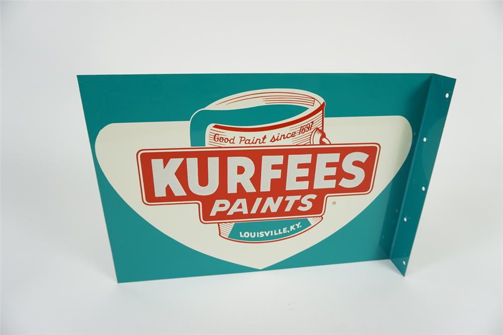 Sharp NOS 1950's Kurfees Paints double-sided tin general store flange sign. - Front 3/4 - 186094
