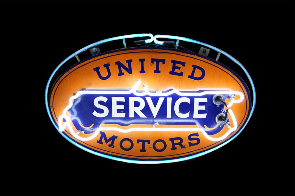 Good looking 1930s United Service Motors single-sided neon porcelain dealership sign - Front 3/4 - 186096