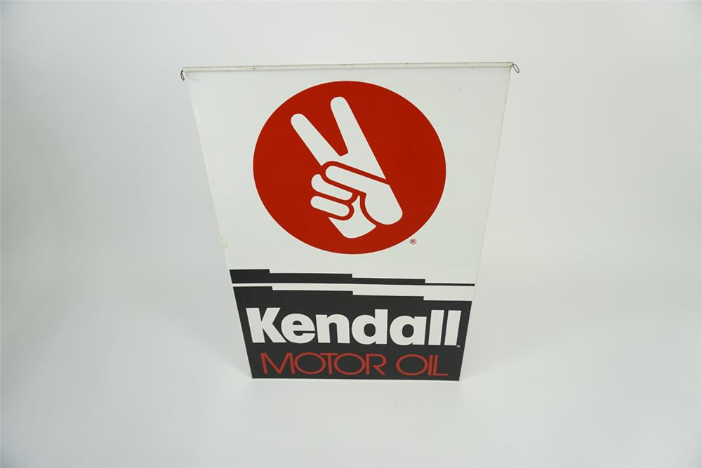 Large Kendall Motor Oil double-sided tin automotive garage sign with hand/finger logo. - Front 3/4 - 186104