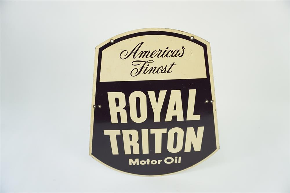 Early 1960s Union 76 Royal Triton Motor Oil double-sided die-cut tin sign. - Front 3/4 - 186126