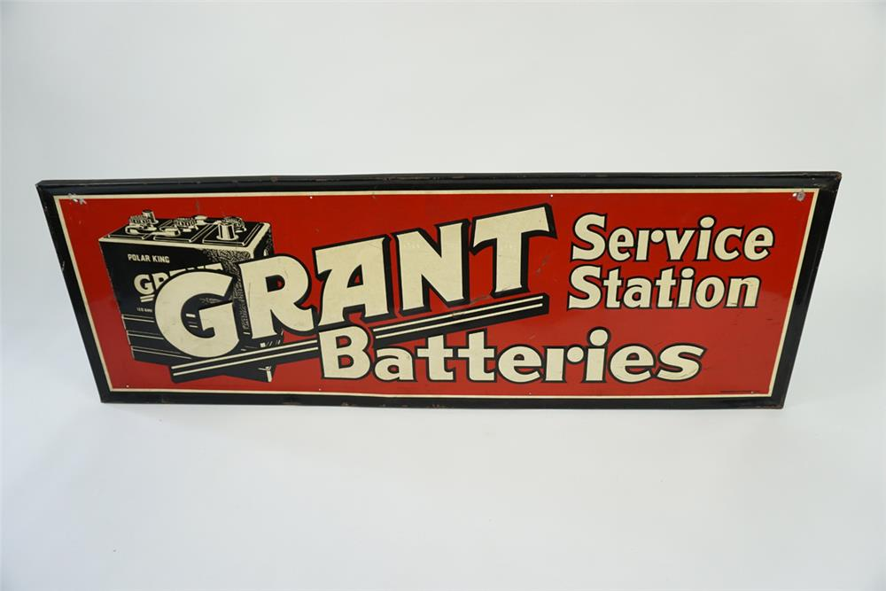 Circa late 1940s-early 50s Grant Batteries Service Station single sided self-framed embossed automotive garage sign. - Front 3/4 - 186127