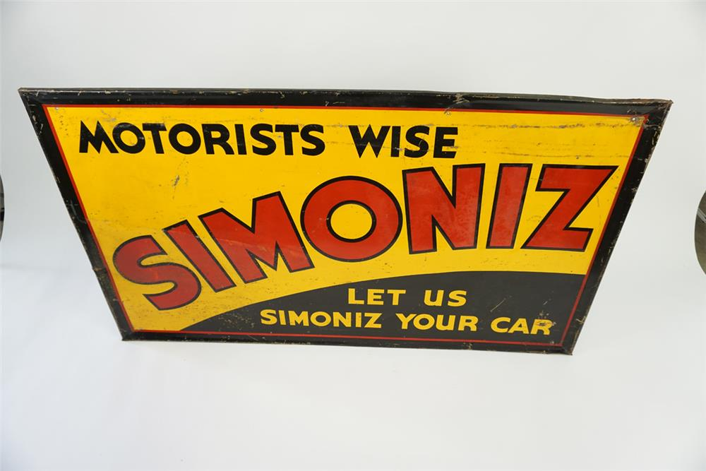 Large 1930's Motorists Wise Simoniz Auto Wax self-framed automotive garage sign. - Front 3/4 - 186130