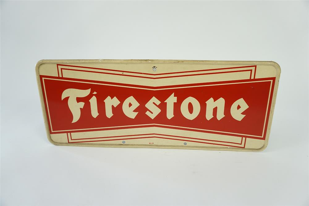 1960s Firestone Tires single-sided self framed tin automotive garage sign. - Front 3/4 - 186131