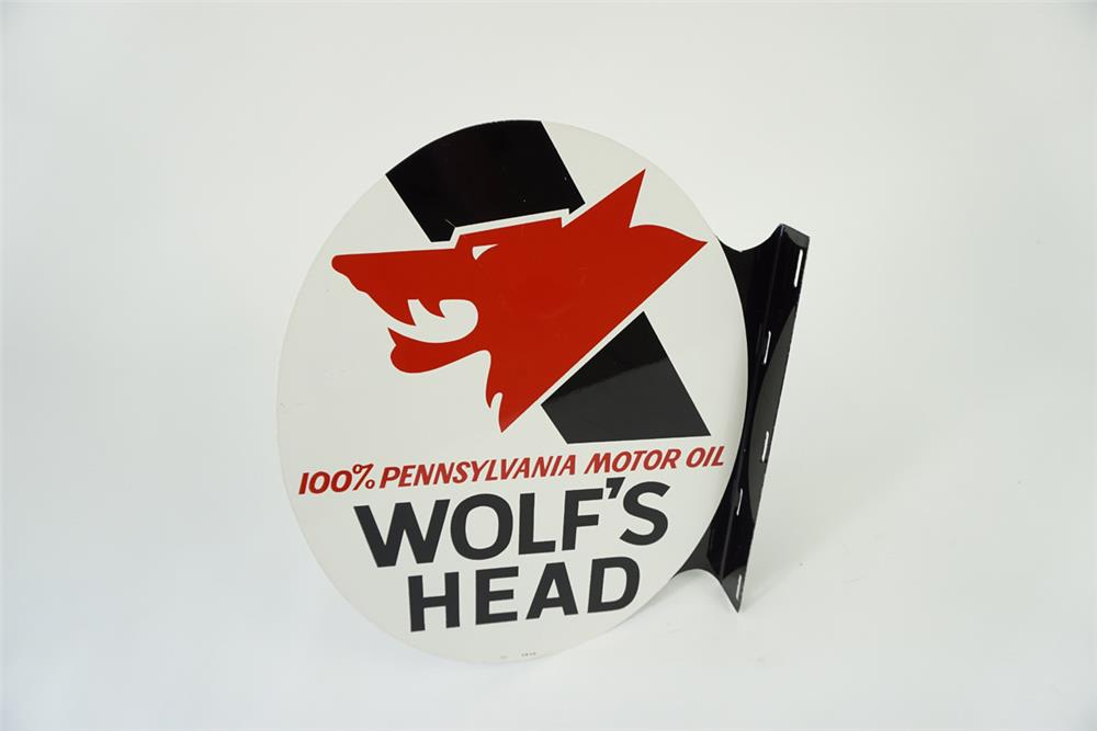 Outstanding vintage Wolf's Head Motor Oil double-sided tin flange sign with Wolf's Head logo. - Front 3/4 - 186132