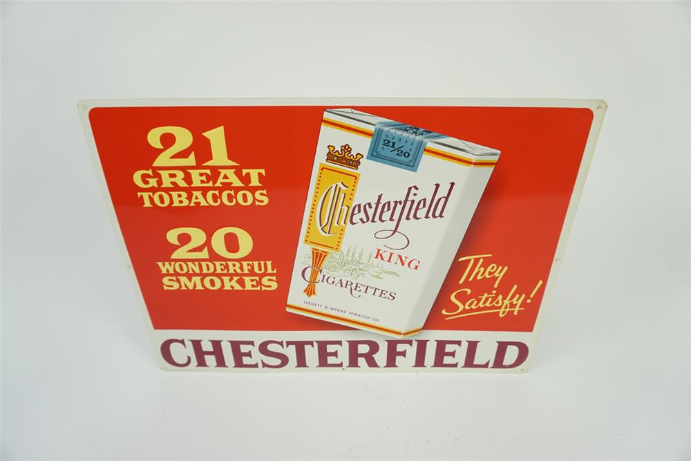 Late NOS 1950s Chesterfield Cigarettes single sided tin sign with cigarette pack graphic. - Front 3/4 - 186141
