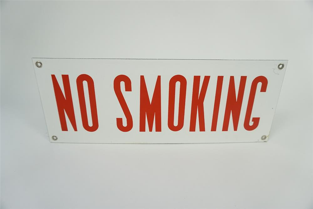 "NOS 1940s-50s service station ""No Smoking"" single sided porcelain fuel island sign. - Front 3/4 - 186143"