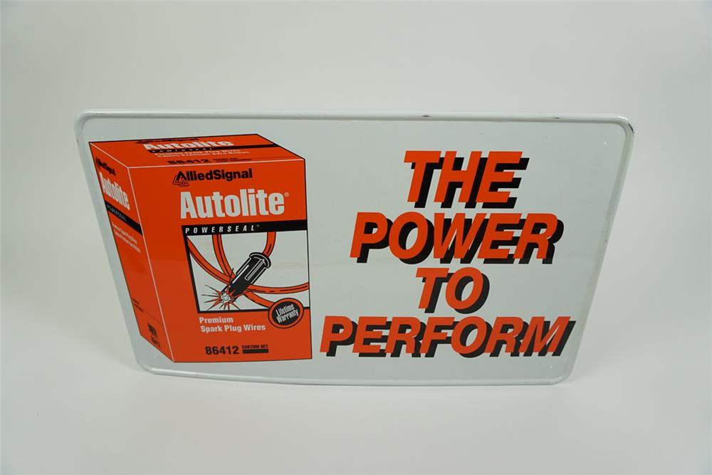 "NOS Autolite ""The Power to Perform"" single-sided tin sign with spark plug wire graphics. - Front 3/4 - 186159"