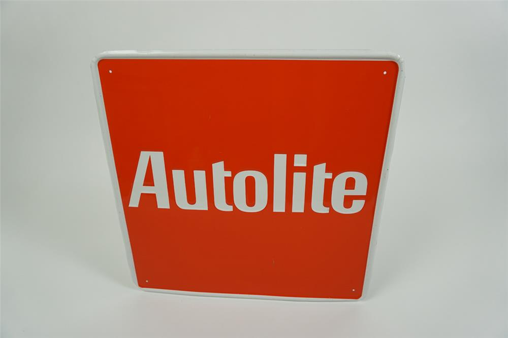 NOS Autolite Spark Plugs single-sided embossed tin automotive garage sign. - Front 3/4 - 186160