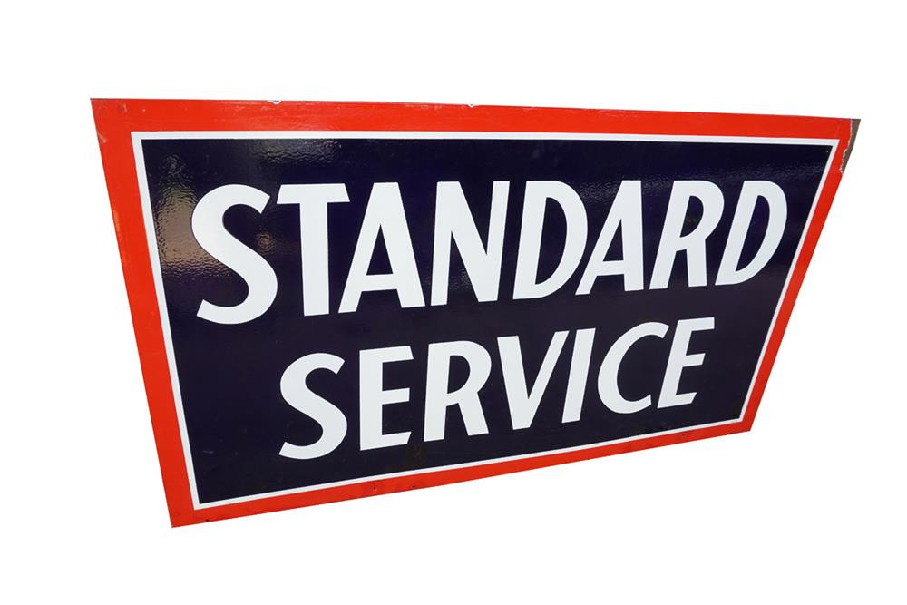 Circa 1930s Standard Oil Service double-sided porcelain service station sign. - Front 3/4 - 186164