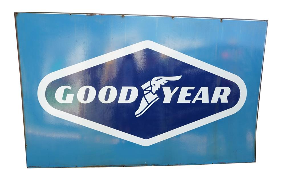 Huge 1960s Goodyear Tires double-sided porcelain garage sign with winged foot logo. - Front 3/4 - 186166