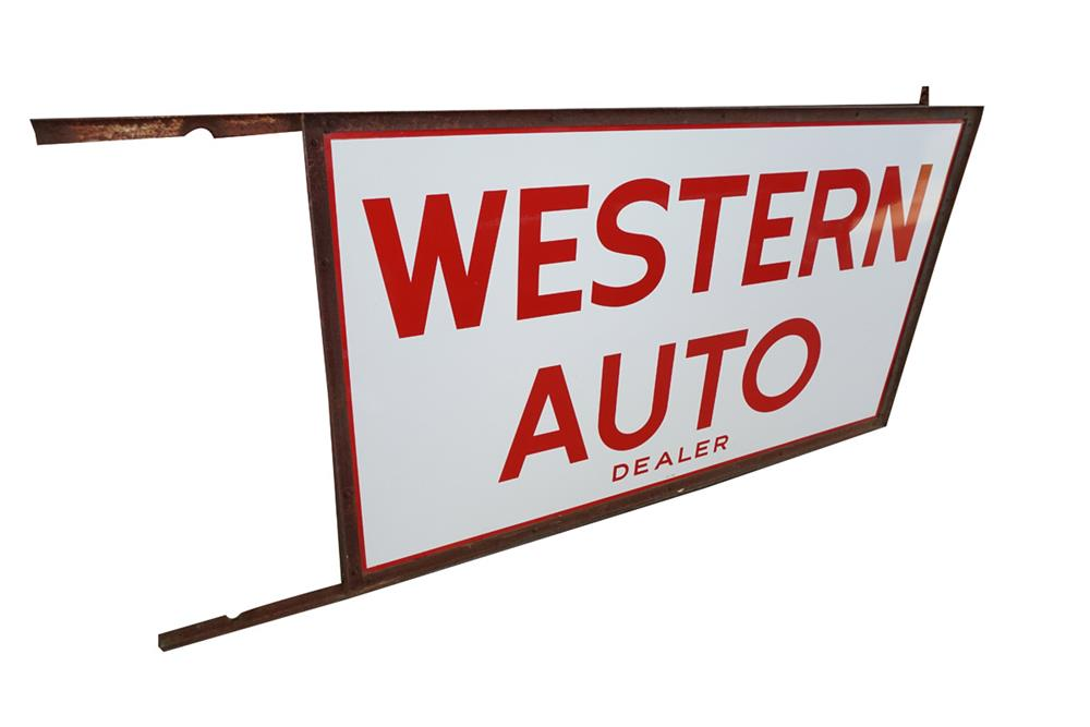 Large 1965 Western Auto double-sided porcelain automotive garage sign still in the original hanging bracket. - Front 3/4 - 186167