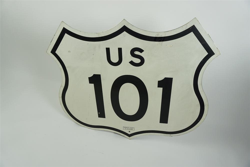 Killer US 101 single-sided die-cut tin shield shaped highway road sign. - Front 3/4 - 186176