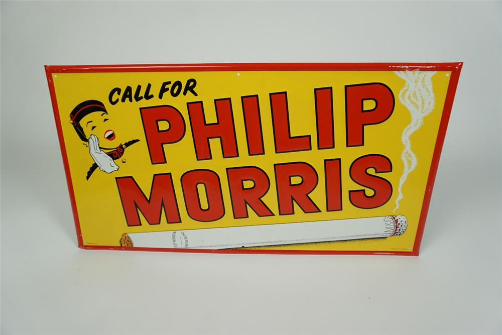 NOS 1940s Phillip Morris Cigarettes self framed tin sign with bell boy logo. - Front 3/4 - 186184