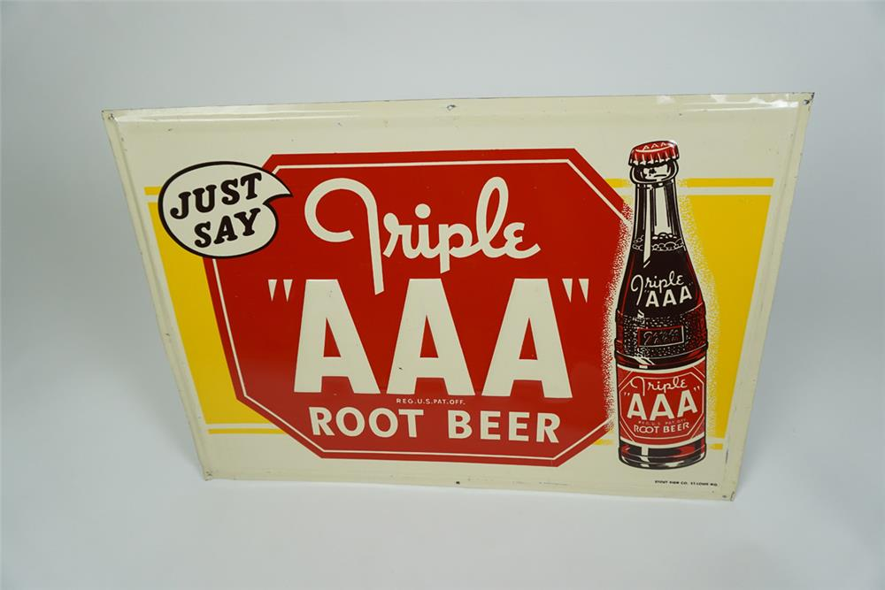 Sharp NOS 1948 Triple A Root Beer single-sided embossed tin sign with bottle graphic. - Front 3/4 - 186189
