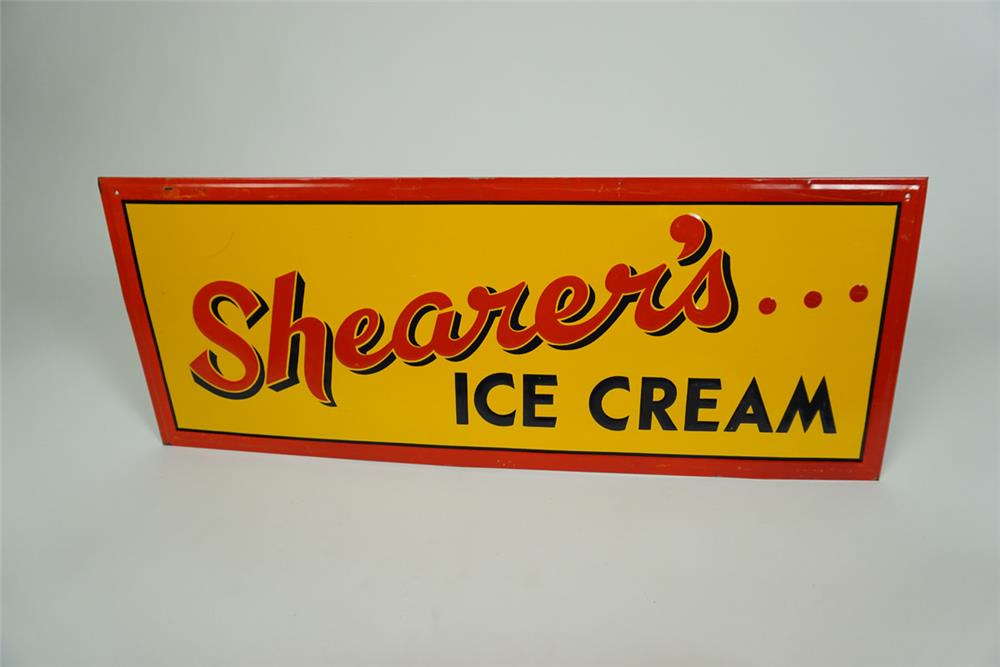 Nicely styled 1940s Shearer's Ice Cream single-sided embossed tin soda fountain sign. - Front 3/4 - 186190
