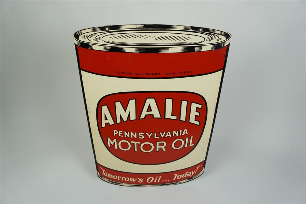Sharp 1947 Amalie Pennsylvania Motor Oil double-sided can shaped tin sign. - Front 3/4 - 186193