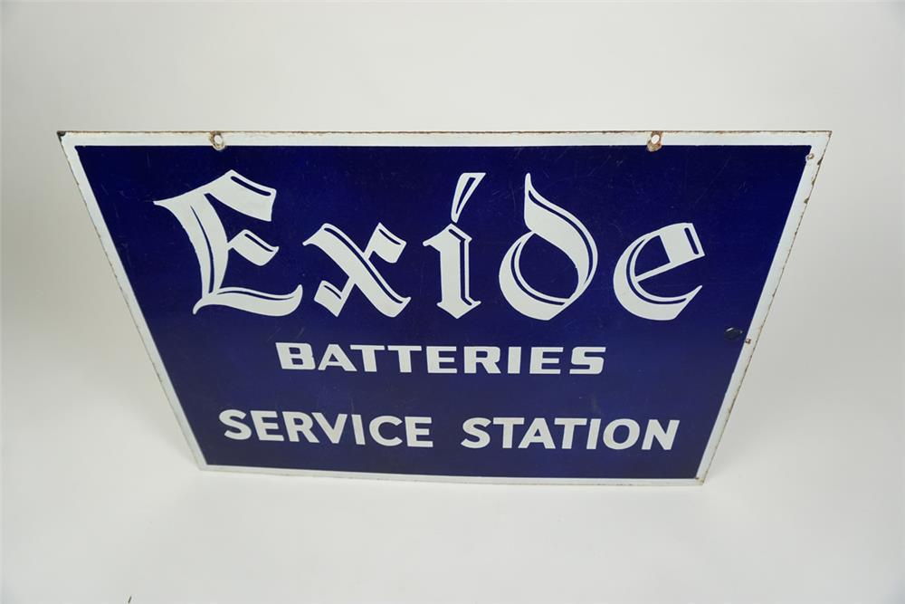 Highly desirable 1930s Exide Batteries Service Station double-sided porcelain automotive garage sign - Front 3/4 - 186194