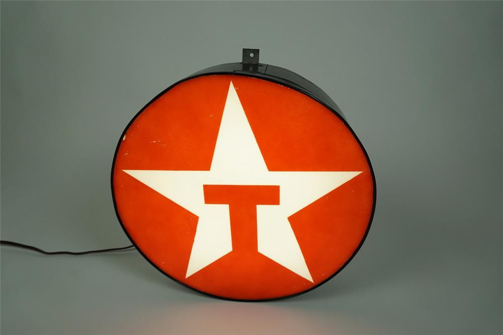 Neat Texaco Oil single-sided light-up sign featuring the Texaco T logo. - Front 3/4 - 186198