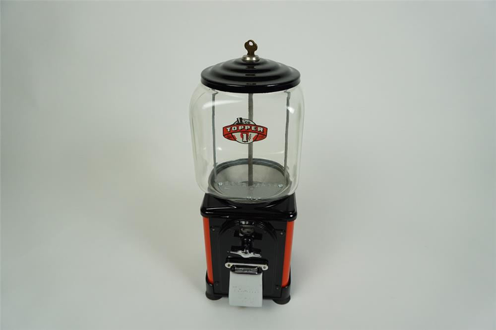 Terrific 1940s-50s Topper restored 1 cent coin-operated peanut machine. - Front 3/4 - 186199