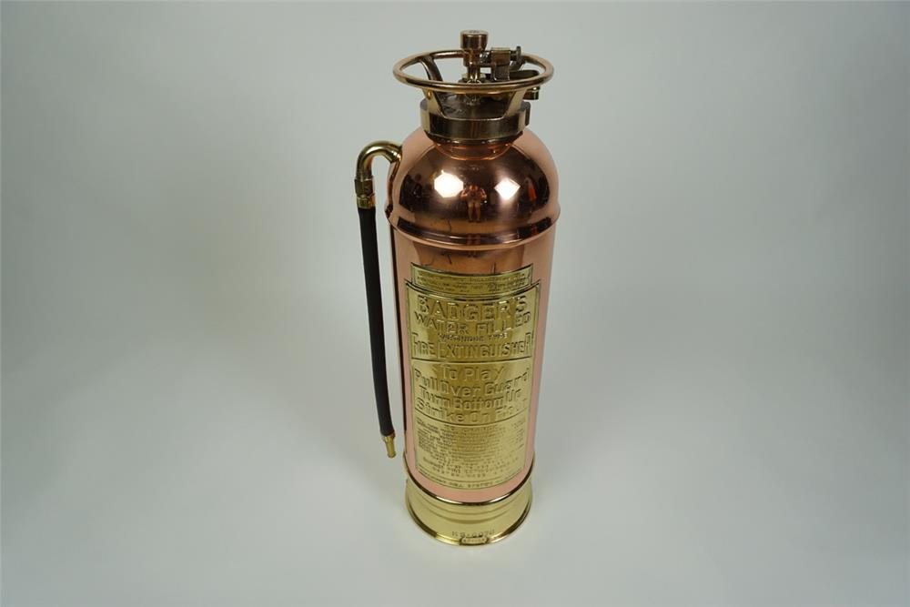 Exquisite turn of the century Badgers Water Filled copper and brass fire extinguisher. - Front 3/4 - 186202