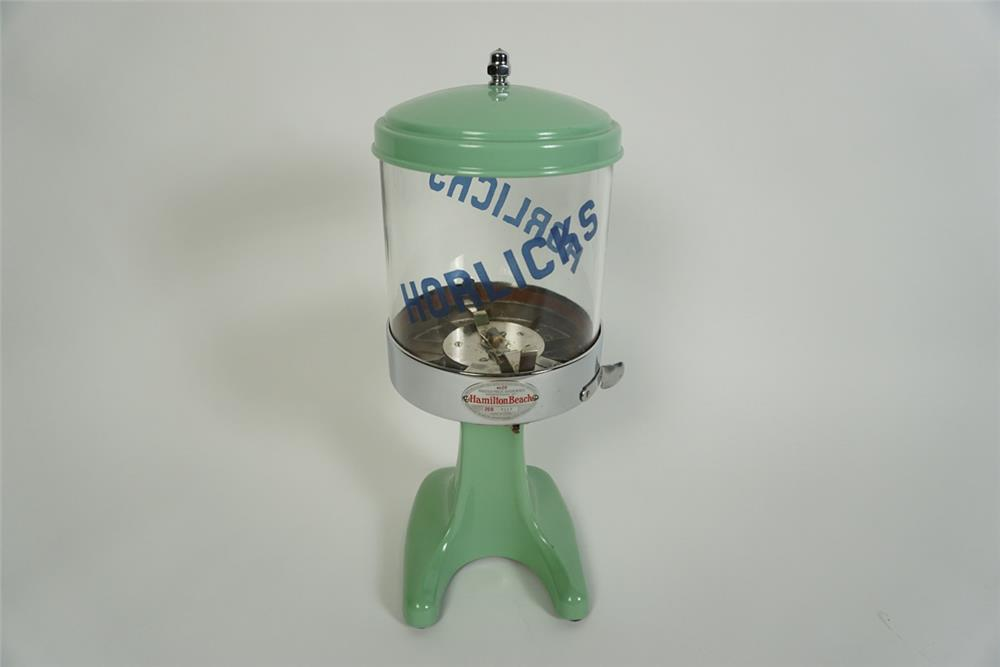 Rare 1940s Hamilton Beach - Horlicks Malted Mix porcelain coated soda fountain malt dispenser. - Front 3/4 - 186209