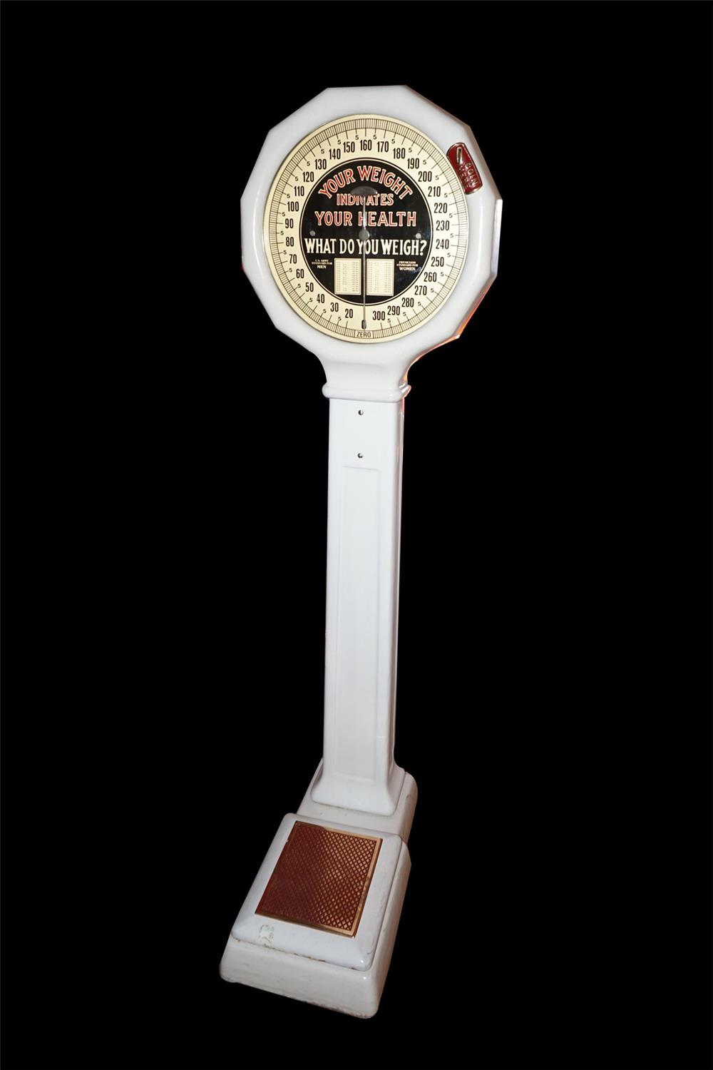 "Superlative 1920s drug store 1-cent coin-operated porcelain coated ""lollipop"" scale. - Front 3/4 - 186210"