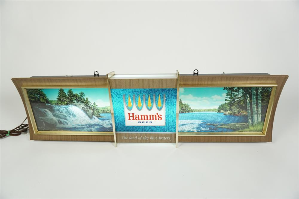 "Very neat vintage Hamm's Beer ""Running Waters"" light up tavern sign with animated motion. - Front 3/4 - 186219"