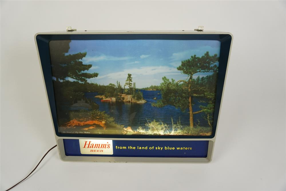Wonderful period Hamm's Beer light-up tavern sign with Northwood's graphic. - Front 3/4 - 186221