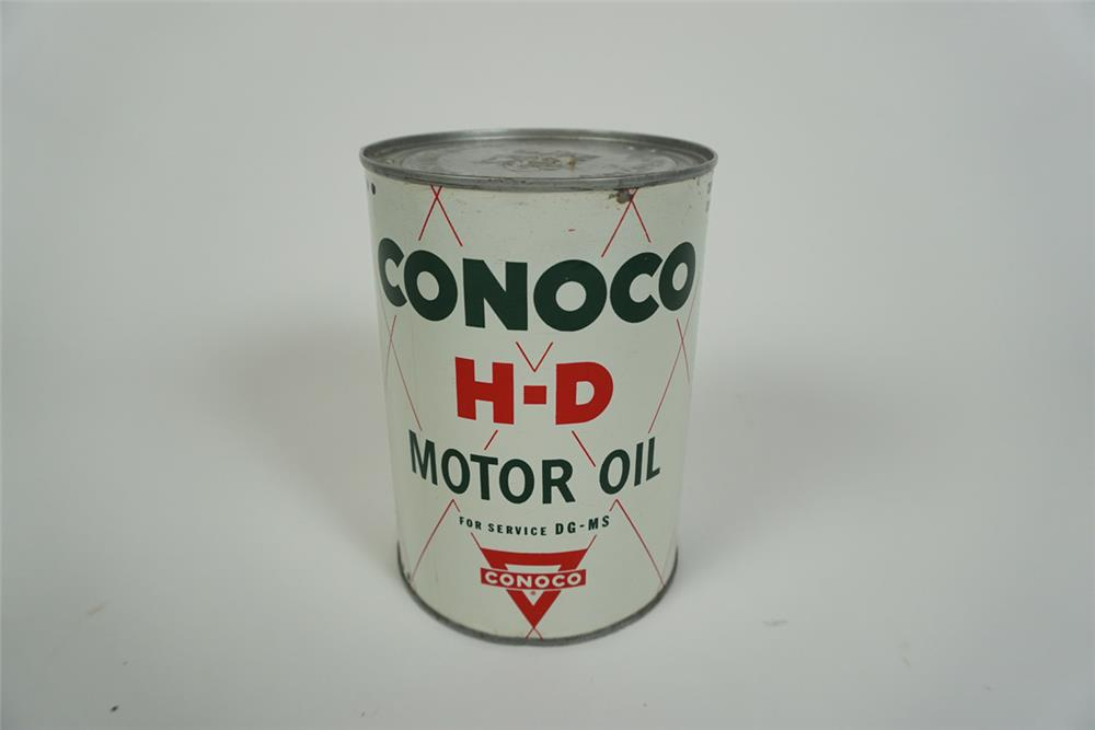 1950s Conoco H D Motor Oil Metal Quart Can With Conoco