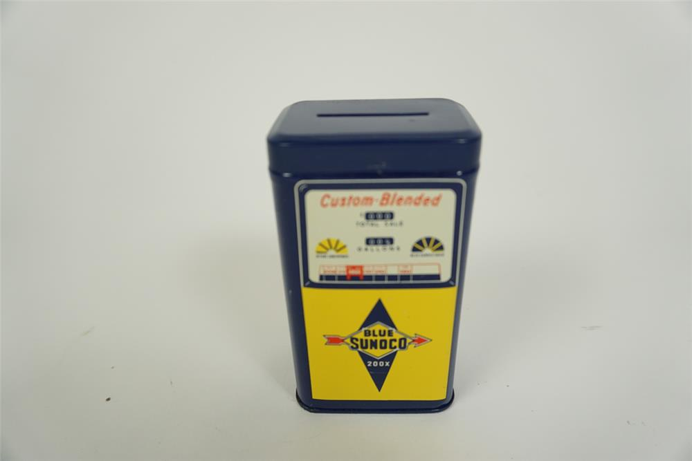 """Superb NOS 1960s Sunoco Oil promotional metal coin bank shaped like a period """"Custom Blend"""" gas pump. - Front 3/4 - 186227"""