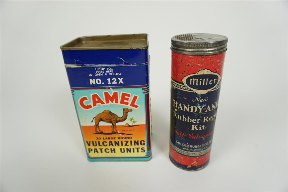 Lot of two circa 1940s Tire Patch kits by Miller and Camel. - Front 3/4 - 186228