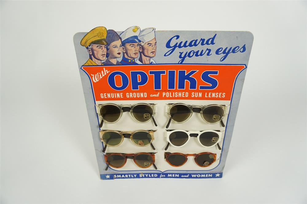 Circa 1940s-50s Optiks sun glasses service station counter-top display with U.S. military motif - Front 3/4 - 186231