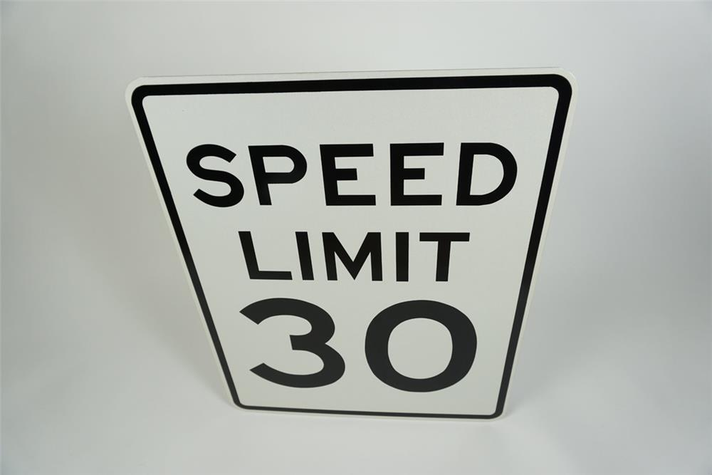 Large NOS Speed Limit 30 metal highway road sign. - Front 3/4 - 186233