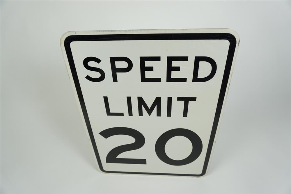 Very clean NOS Speed Limit 20 metal highway road sign. - Front 3/4 - 186234